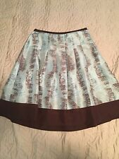 Odille Anthropologie Blue/Brown Brush Stroke Raw Silk Pleated A line Skirt 2