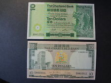 HONG KONG 1977, 1981 CHARTERED BANK 10 DOLLARS, 2 NOTES, CHOICE EF++ !