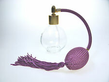 DARK PURPLE ROUND BOTTLE TASSEL PERFUME ATOMIZER WITH GOLD FITTING 78ml