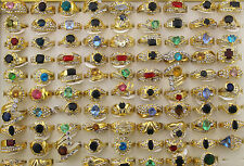 Wholesale mixed Lots 45pcs colorful Imitation zircon gold p lady's rings EH125