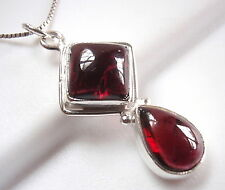 Garnet Pendant 925 Sterling Silver Double Gemstone Square Teardrop Cube New