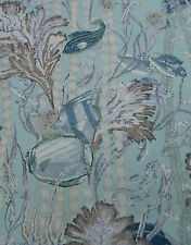 Cowtan & Tout Fabric 'Maralago' 3.6 METRES Multi/Aqua 100% Linen Tropical Fabric