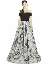 NWT $1,496 ALICE + OLIVIA Meredith Black Grey Formal Prom Ball Gown Dress - Sz 2