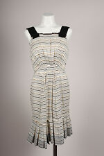 Marc Jacobs NWT Cream Gold Navy Metallic Striped Sleeveless Dress SZ 8