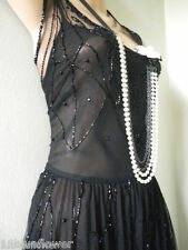 Flapper Dress Gatsby Vintage 20's 30's Downton Beaded Deco Black Net 14 42 US 10