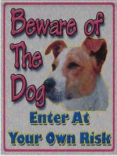 "BEWARE OF THE DOG METAL WALL PLAQUE / SIGN 8"" X 6"" WITH FIXING PADS"