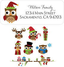 60 Christmas Owl Return Address Labels for Holiday Cards - You pick Design!