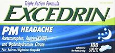 4 Pack Excedrin PM Headache Pain Reliever Caplets 100 Count Each