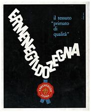 ERMENEGILDO ZEGNA PRIMATO TESSUTO QUALITA' SIGILLO STUDIO TESTA 1962