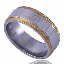 Mens Boys YELLOW 14K White Gold Plated Weeding BAND RING ARAB STYLE Size 9