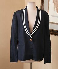Lauren Ralph Lauren Navy Blue White Trim Linen Nautical Blazer Jacket Size 16