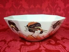 Vintage 1976 Fitz & Floyd FF Asian Porcelain Geisha Girls Octagon Serving Bowl