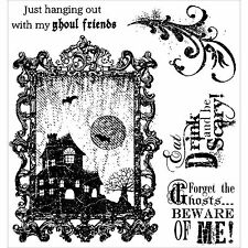HALLOWEEN GHOST BEWARE Set Cling Unmounted Rubber Stamps Darcies JCS152 NEW