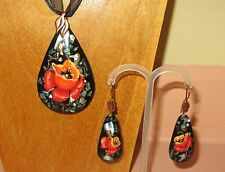 Genuine ART hand painted Abalon SHELL resin PENDANT & EARRINGS RED POPPY FLOWERS
