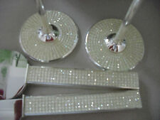 Wedding Toasting Glasses Flutes Cake Knife Server IVORY/CHAMPAGNE Crystal Bling