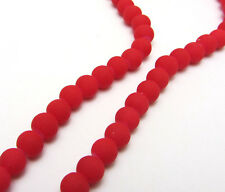 New 50PCS 6mm Red Color Matte Rubber Round Glass Spacer Chram Beads