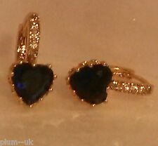 E20 Deep blue sapphire heart 18k yellow gold gf French hoop earrings PlumUK BOXD
