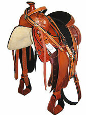 "WESTERN ROPING SADDLE SET HAND CARVED BRIGHT TAN 16"" SUEDE SEAT (1089)"