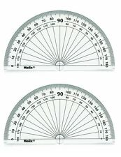 2 PROTRACTORS, HELIX, 180 DEGREES, 10CM / 4IN. DIAMETER, NEW, CLEAR, PLASTIC
