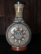 Lovely Hand Painted Tonala Small Vase with Sun Face, Mexican Folk Art Pottery