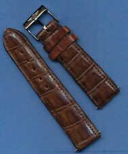 Breitling Steel Buckle  22mm Brown Hand Crafted Genuine Crocodile Strap Band