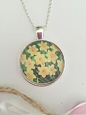 "Daffodils Glass Pendant Necklace - Silver Plated - 18"" - Springtime - Flowers"