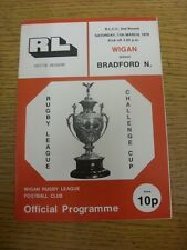 11/03/1978 Rugby League Programme: Wigan v Bradford Northern [Challenge Cup] (te