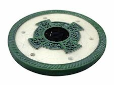 Homebrite Solar LED Round Stepping Stones,Limestone Green Set of 3 Outdoor Light