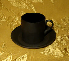 WEDGWOOD *BASALT BLACK* DEMITASSE / ESPRESSO CUP & SAUCER MADE IN ENGLAND