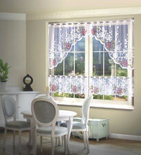 Set New Net Lace Kitchen  Curtain Window Door White Hand Painted Interior decor