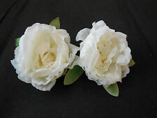 2 Ivory Fabric Roses Flowers For DIY Crafts Hair accessories 10cm wide /flower