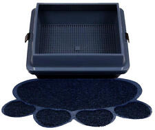 Hometec Paw Print Litter Mat for Cats, Dark Blue – Large Mat
