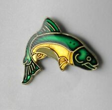 WILDLIFE FISH TROUT JUMPING GREEN & WHITE LAPEL PIN BADGE 3/4 INCH