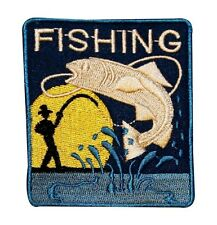 "Fisherman Bass ""Fishing"" Patch Rod & Reel Angling Hobby Craft Iron-On Applique"