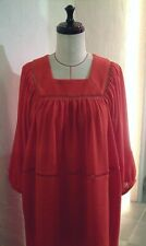 RED TERRY CLOTH LACE SQUARE NECK PEASANT BOHO 70'S DRESS COVER UP 8 9 COCOdake