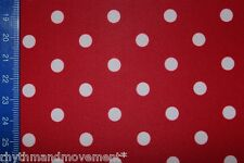 Dance Costume Lycra Spandex Fabric Red and White Spot 50cm - 150cm wide.