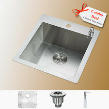 """Square Shape 19"""" Top Mount Kitchen Bar Sink With Free Accessories Combo KTS1921"""