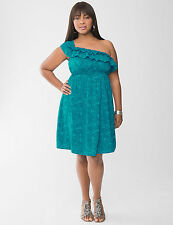 NEW Lane Bryant  Plus 16 18 2X TEAL BLUE Palm Ruffled One Cold Shoulder Dress