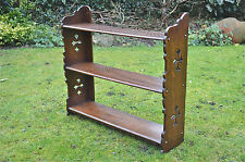 Gothic Revival oak wall shelf book rack Arts and Crafts cut outs
