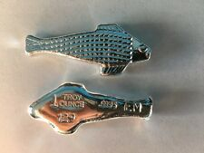 "1oz Hand Poured 999 Silver Bullion Bar ""Fish"" by Ericson Mint"