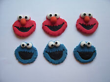 edible cake decorations / cupcake toppers COOKIE MONSTER AND ELMO set of 6