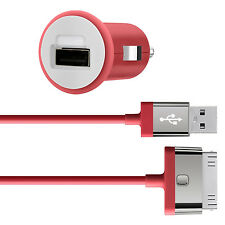 Belkin MIXIT iPhone 4S 4 iPad 3 2 1 iPod Fast 2.1Amp/10W Car Charger & Cable Red