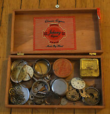 Lot of Pocket Watch Parts - Movement Dial Crown Case Balance Wheel Gear Waltham