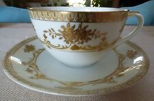Hand Painted Nippon White with Gold Trim Floral Tea Cup & Saucer