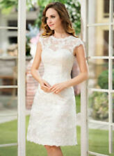 2016 New short knee-length ivory wedding dress white lace dress Custom Size