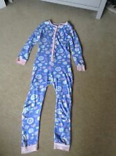 Girls Blue Floral Onesie Pyjamas All in One Age 11-12 but more like 9-10