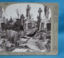 WW1 Stereoview French Graves Smashed German Shell Fire Sniper Realistic Travels