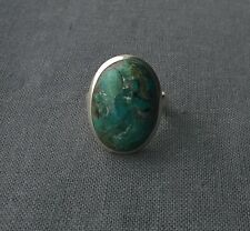Huge solid 925 sterling silver Turquoise big oval ring with cool matrix size R