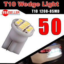50PCS T10 Wedge 8SMD Side LED Light Bulb Pure White W5W 194 168 2825 158