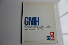 HOLDEN VEHICLE IDENTIFICATION GUIDE OCT 83 SUPPLEMENT NOS COMMODORE GEMINI